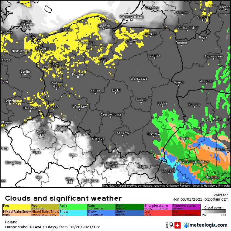 Pogoda. Mgły i chmury w Polsce.