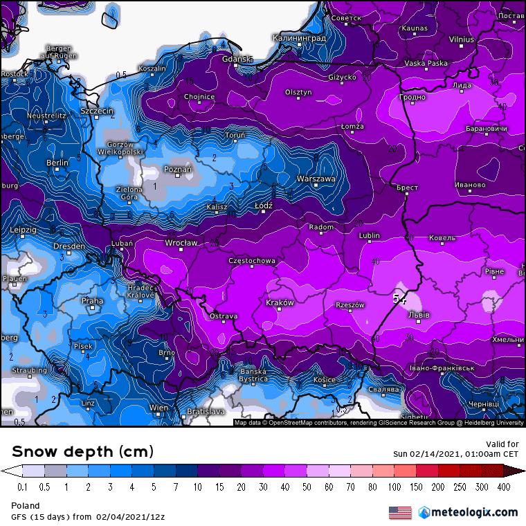 prognoza grubości pokrywy śnieżnej według GFS