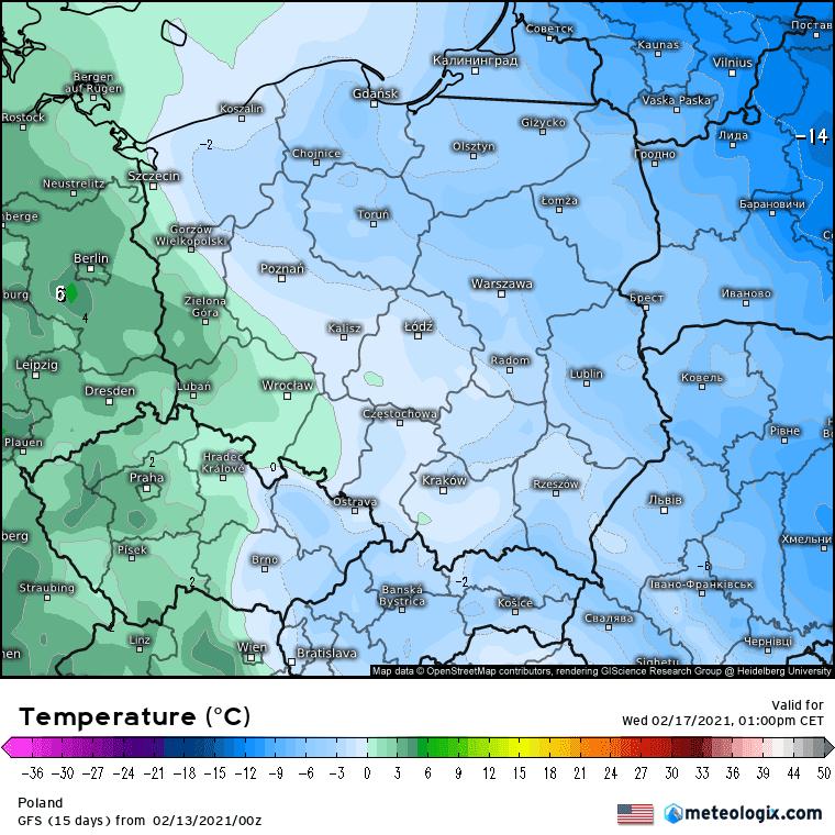 Ocieplenie w Polsce, 17 lutego 2021