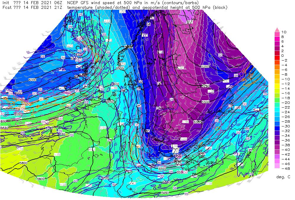 Pogoda na noc 14/15 lutego 2021. Widoczna górna zatoka niżowa wypełniona arktycznym powietrza, jaka wpłynie na przebieg warunków pogodowych.