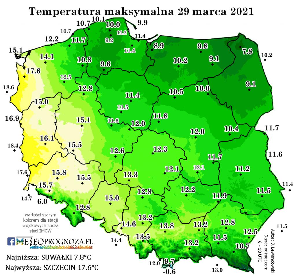 Pogoda. Temperatura 29 marca 2021