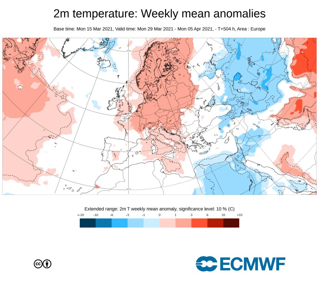 Pogoda. Anomalia tygodniowa kwiecień 2021