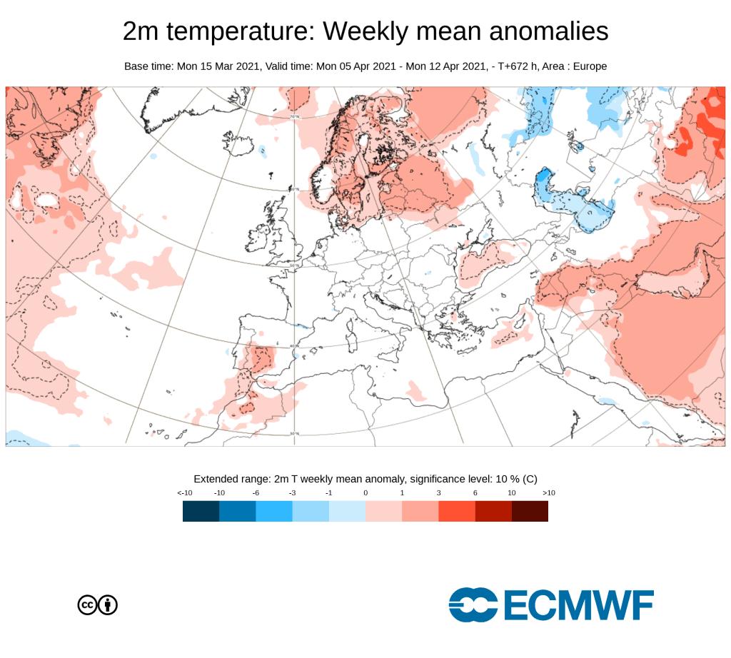 Pogoda. Wstępny trend na kwiecień 2021 w Europie