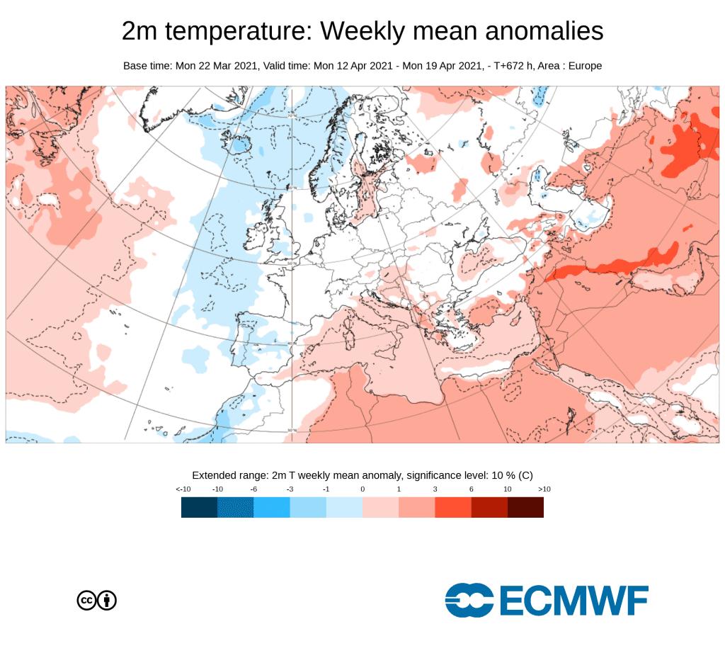 Pogoda. Anomalia tygodniowa w kwietniu