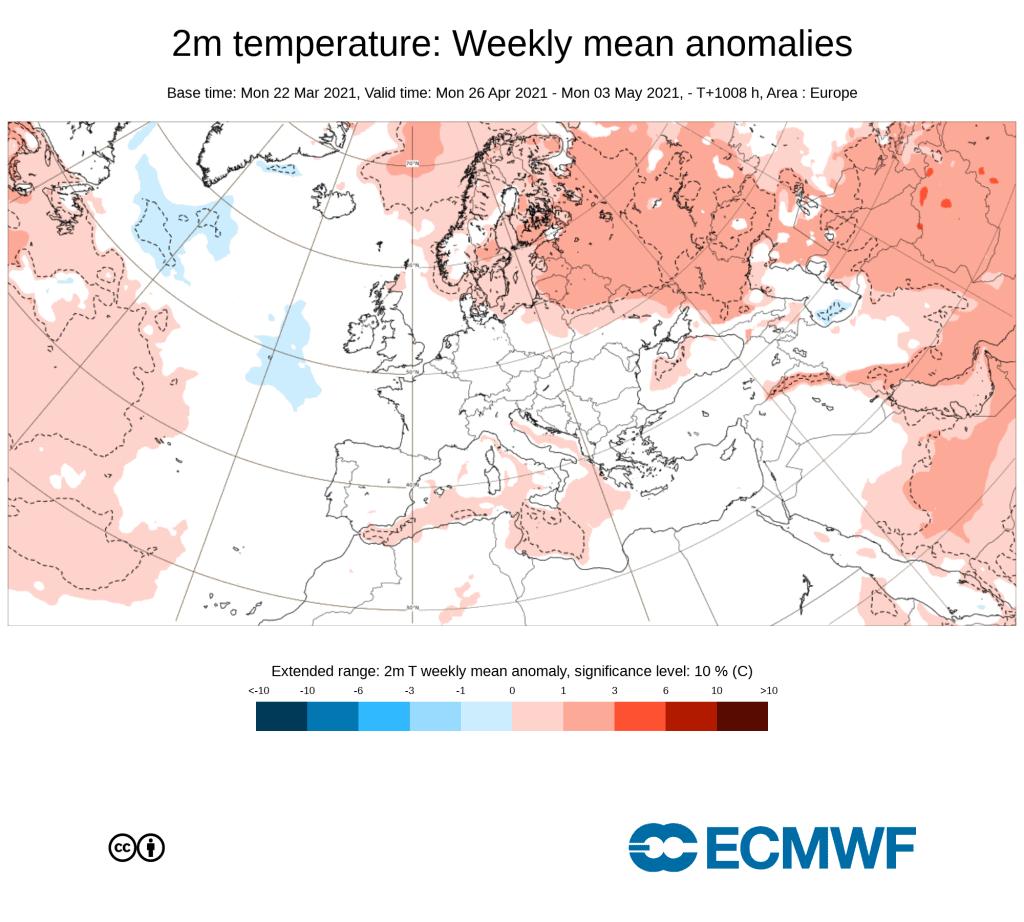 Kwietniowy trend według ECMWF