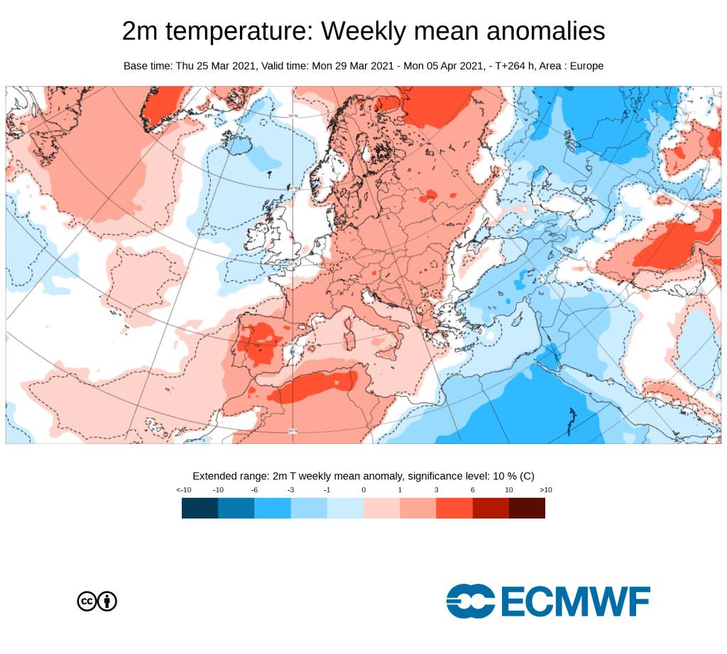 Pogoda wedlug ECMWF, anomalia na kwiecień 2021