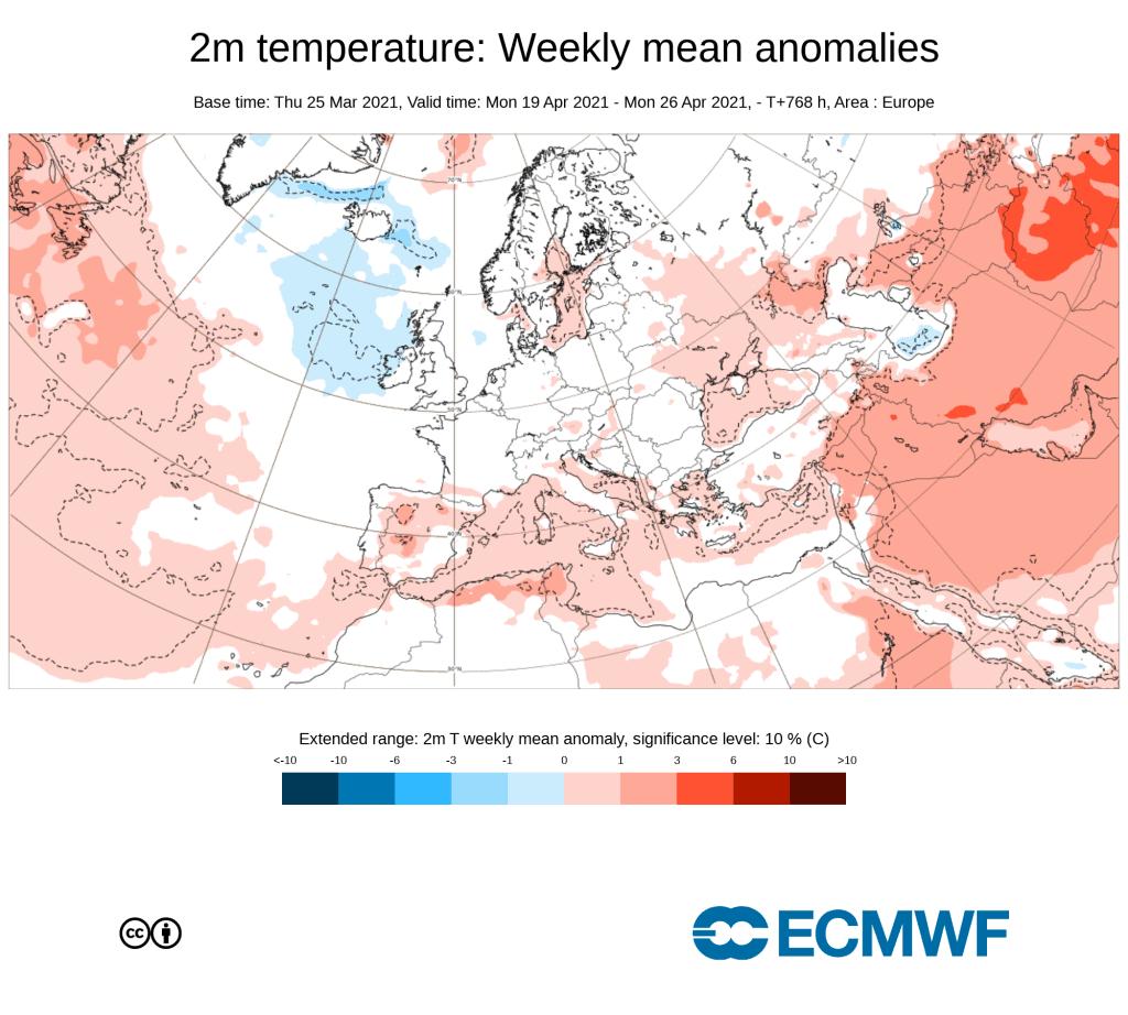 Pogoda. Anomalie tygodniowe ECMWF