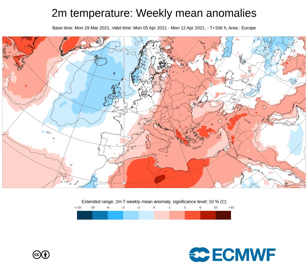 ECMWF prognoza tygodniowa na kwiecień 2021