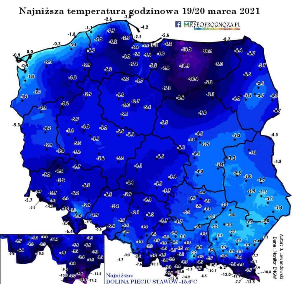 Pogoda. Najniższa temperatura godzinowa 19/20 marca 2021 w Polsce