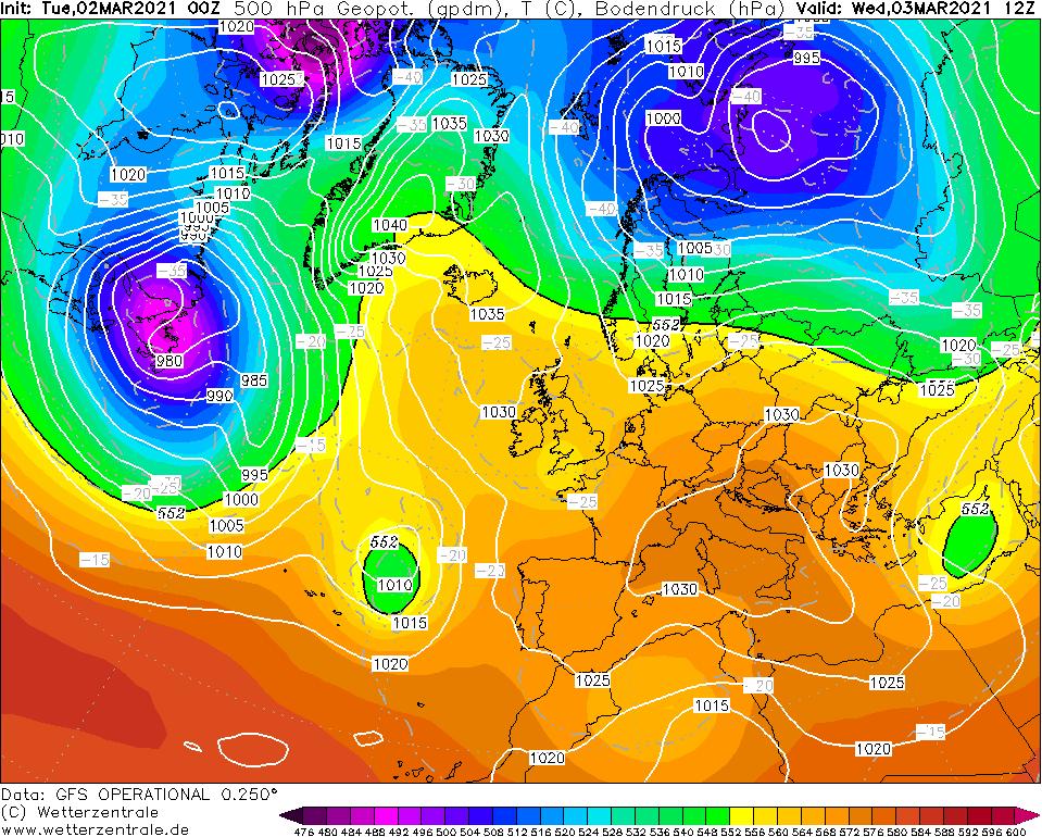Pogoda. Górny klin wyżowy w środkowej i górnej troposferze.