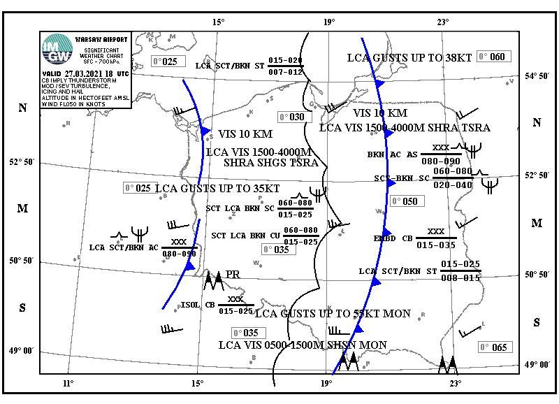 Pogoda. Sytuacja synoptyczna na dzień 27.03.2021, 18 UTC