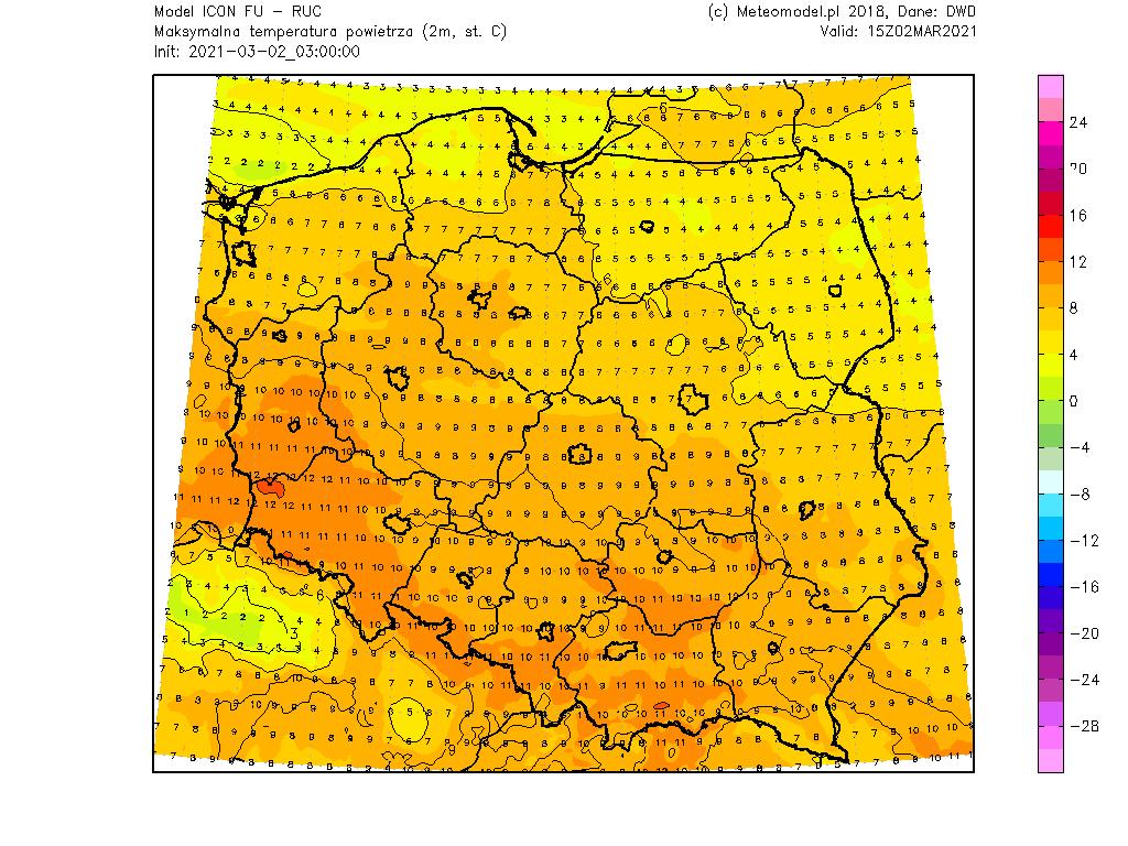 Temperatura wtorek, 2 marca 2021.
