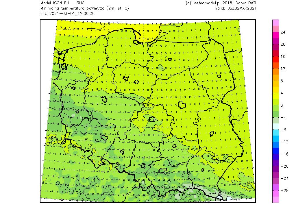 Pogoda. Temperatura minimalna na noc z poniedziałku na wtorek.
