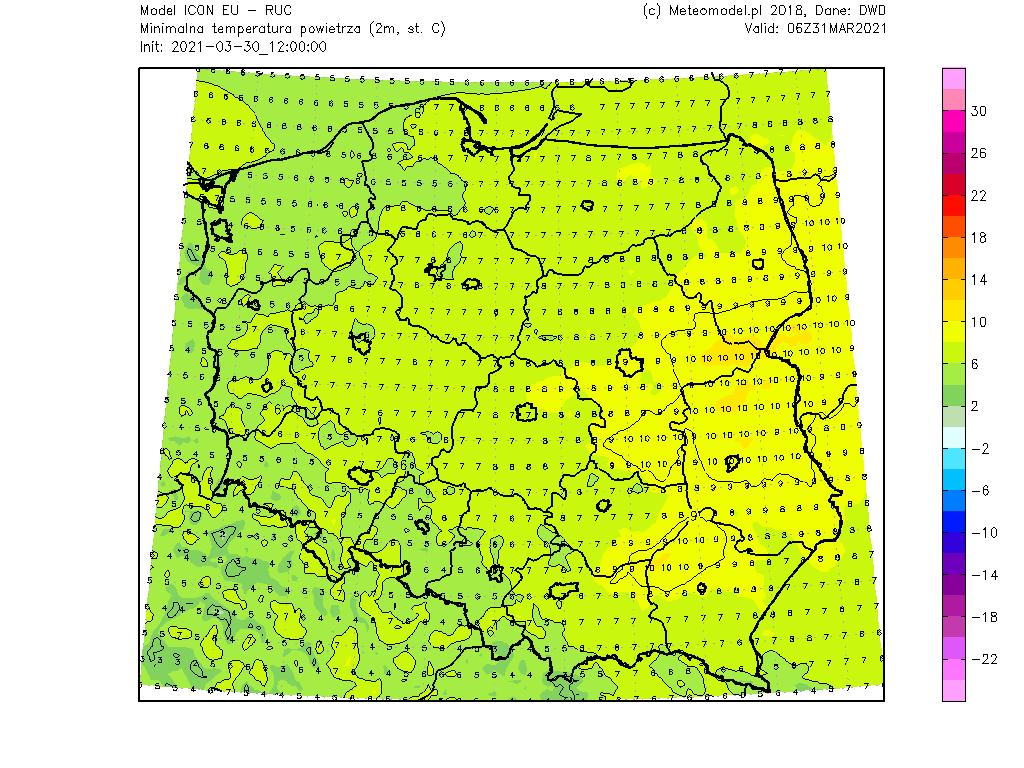 Temperatura 31 marca 2021.