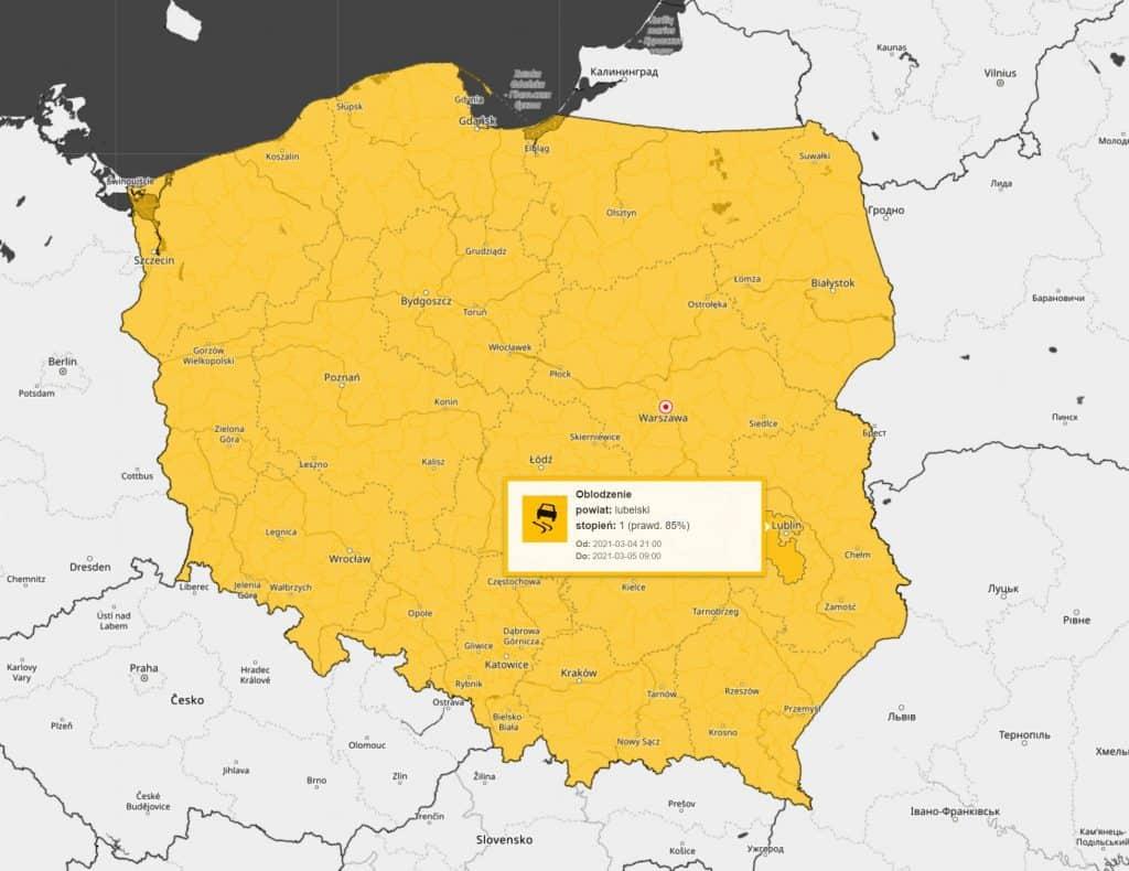 Atak zimy. Ostrzeżenia IMGW dla Polski na noc