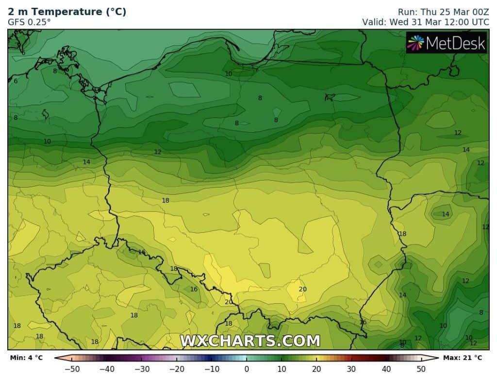Wysokie temperatury Polska