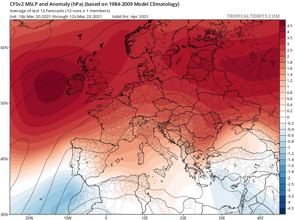 Pogoda. Rozkład ciśnienia w kwietniu 2021