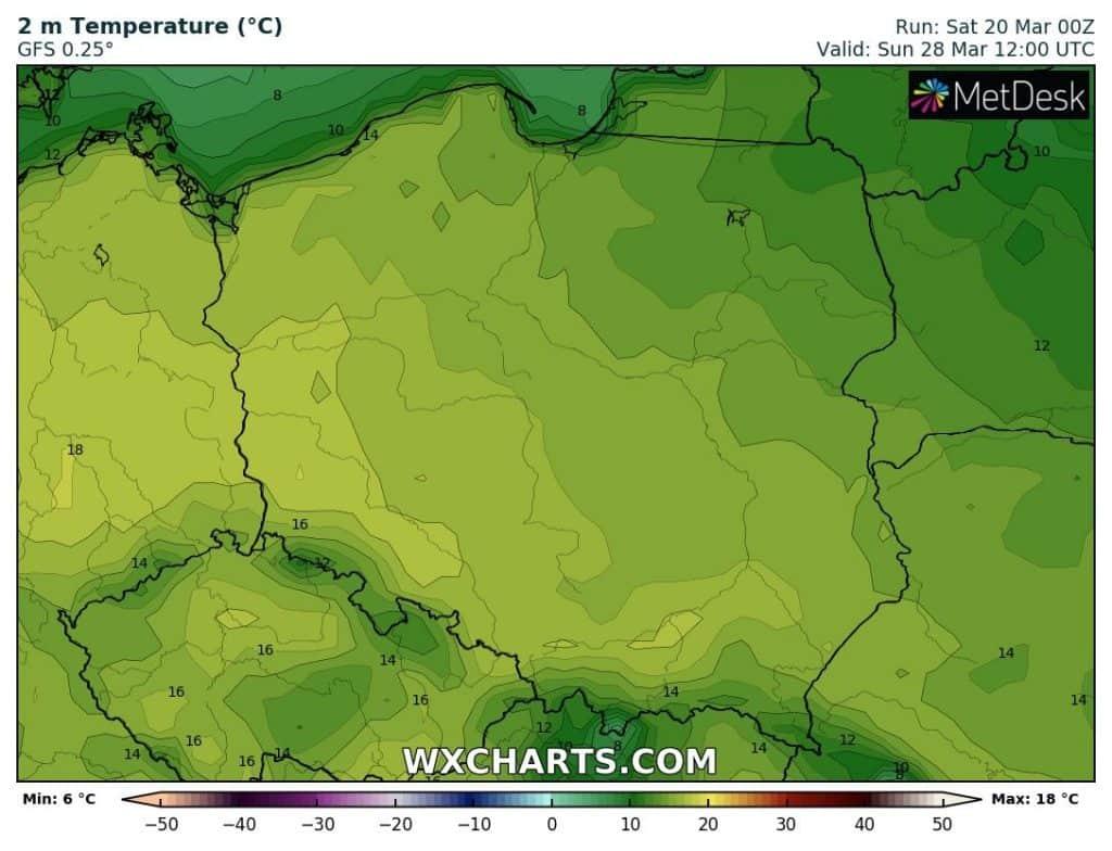 Wysokie temperatury w Polsce na koniec marca