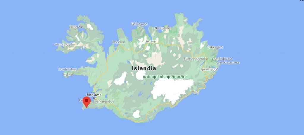 Miejsce erupcji wulkanu. Islandia
