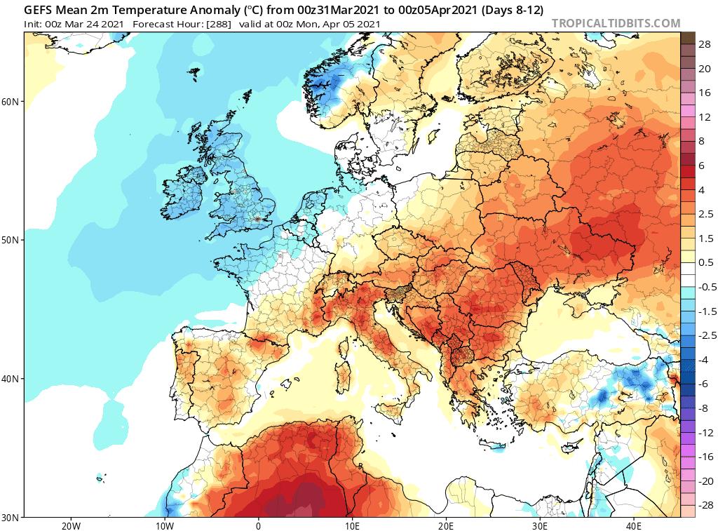 Pogoda. Anomalia na przełom marca i kwietnia 2021