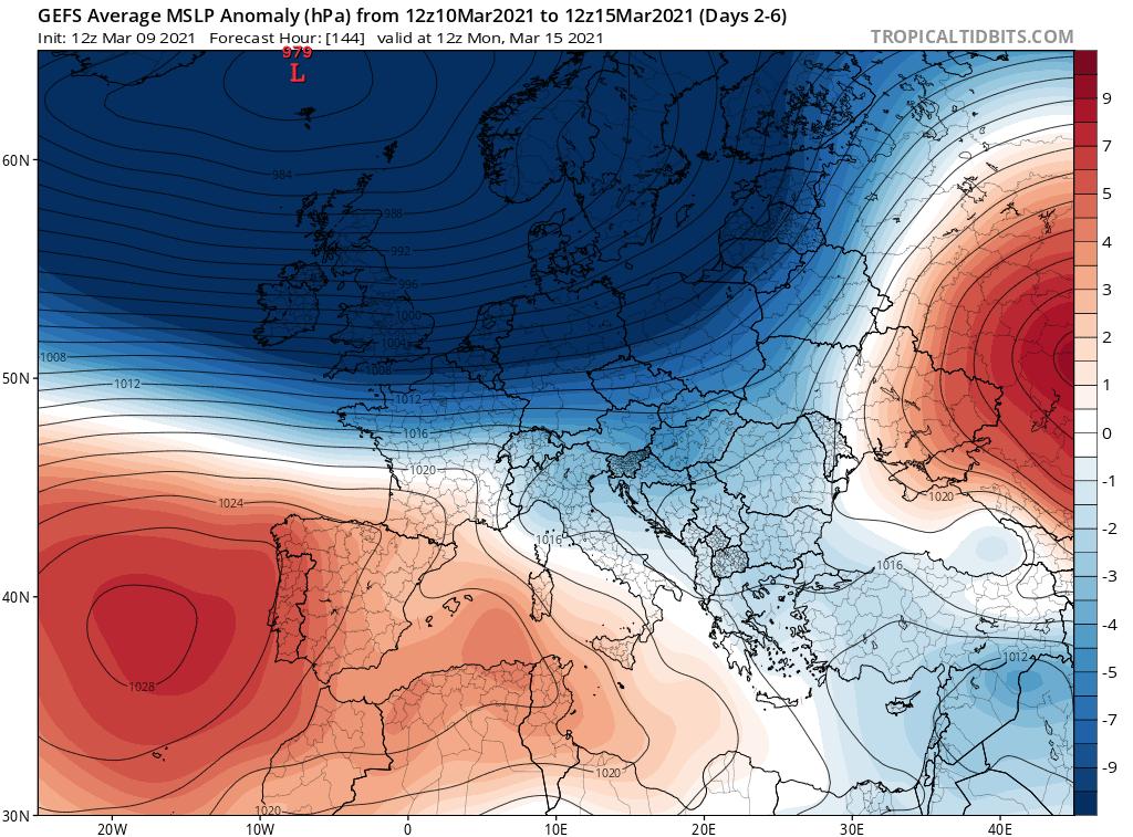 Pogoda. Ciśnienie atmosferyczne w Europejskim Obszarem Synoptycznym.