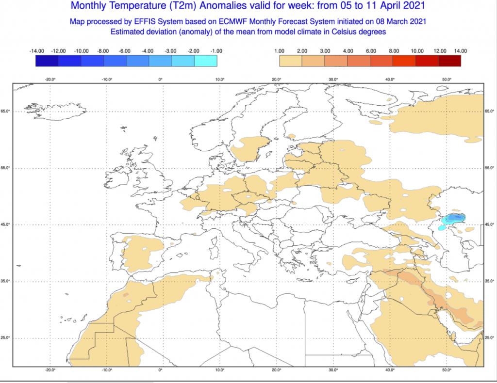 Anomalia tygodniowa ECMWF na kwiecień 2021