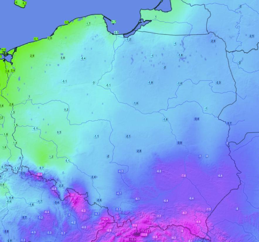 Pogoda i niska temperatura w Polsce