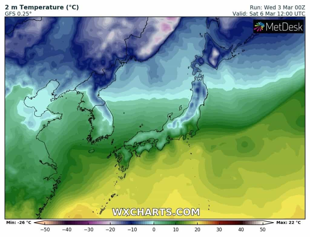 Atak zimy w Japonii. Ponowne spadki temperatury