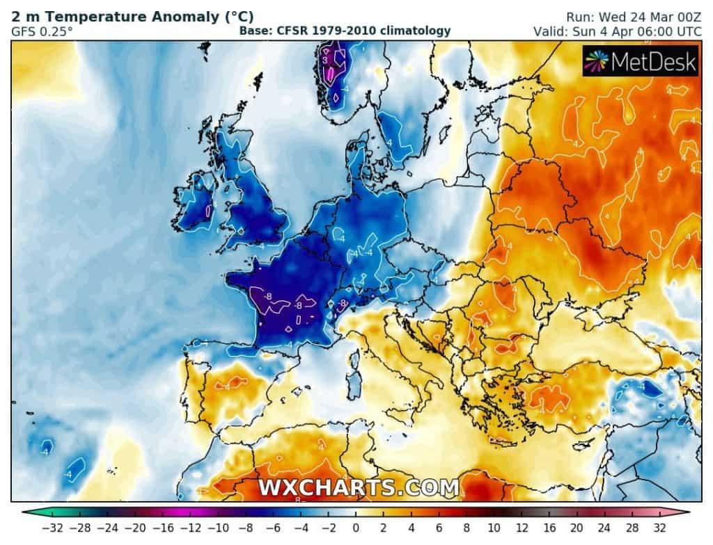 Silny mróz w Europie Centralnej w kwietniu