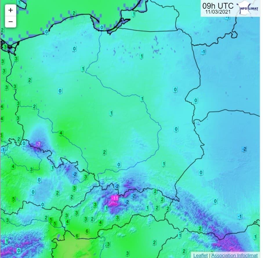 Mróz na wschodzie Polski