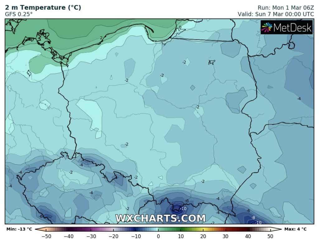 Mróz w Polsce w nocy 6-7 marca