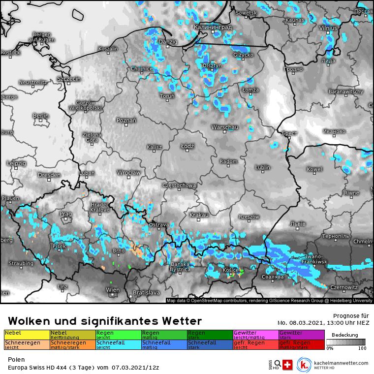 Opady nad Polską 8 marca Dzień Kobiet
