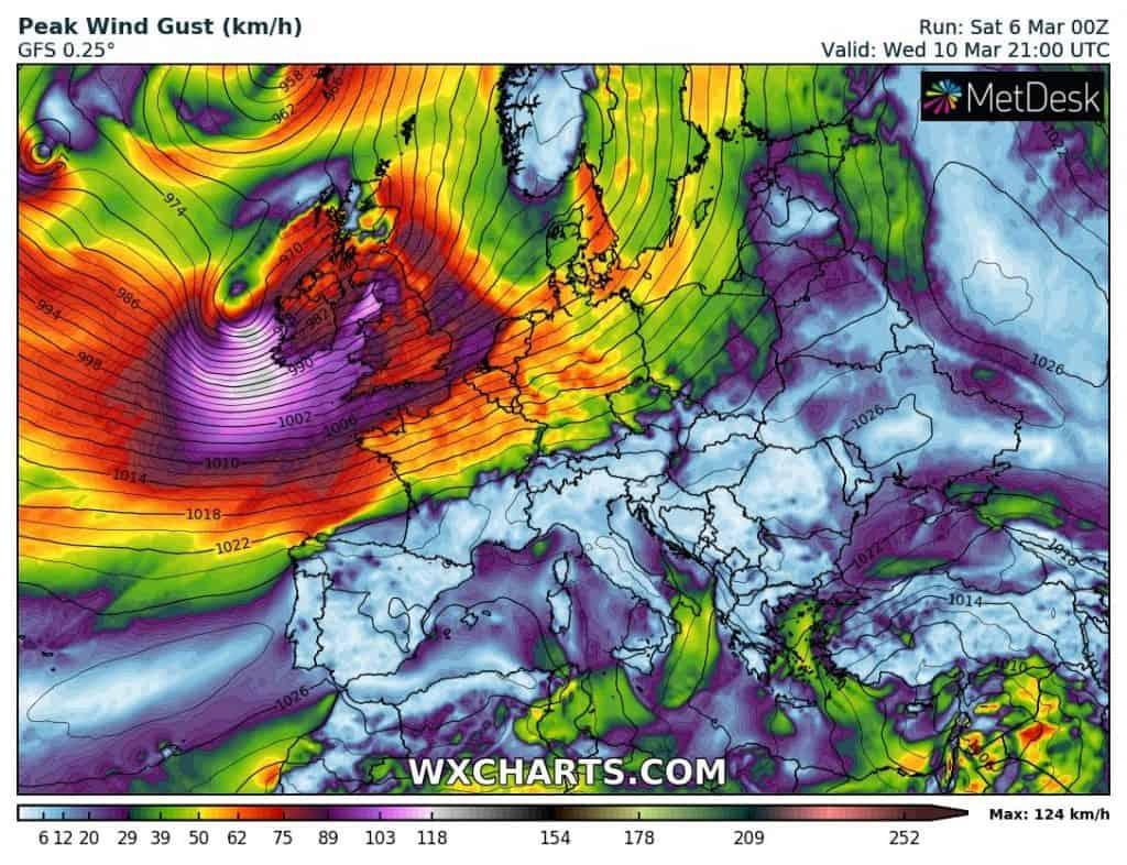 Silna wichura dotrze do Europy Centralnej 11 marca 2021
