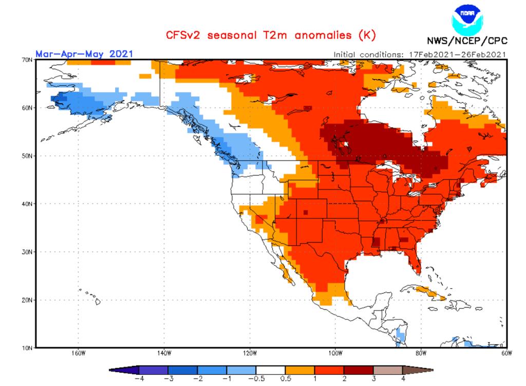 Pogody. USA i anomalia 3 miesieczna