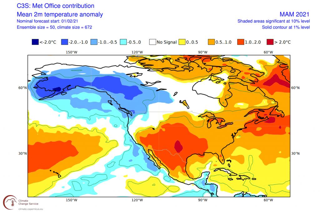 Pogoda długoterminowa dla USA. Anomalia temperatury
