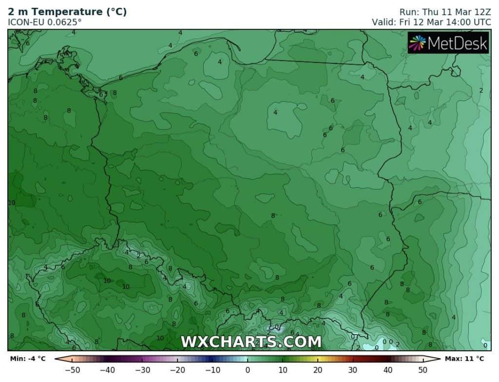 Temperatura 11 marca w Polsce. Ciepły dzień
