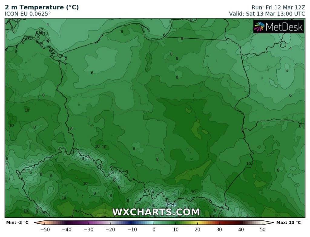 Temperatura w Polsce w sobotę 13 marca