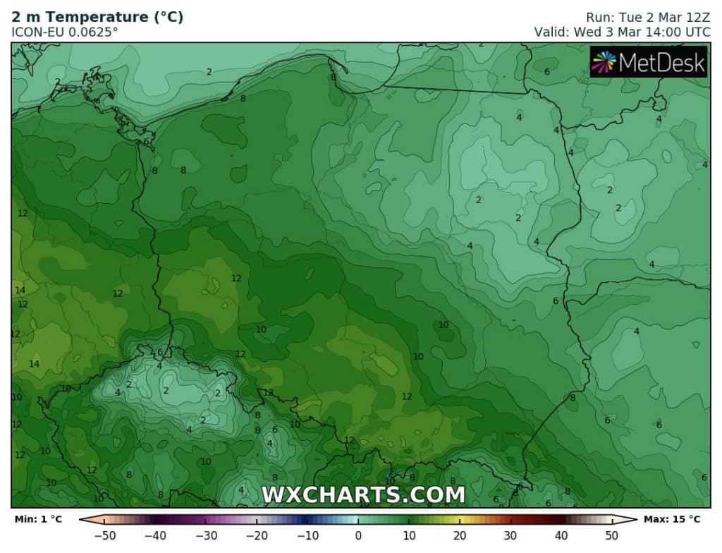 Ciepła środa 3 marca w Polsce południowej i zachodniej