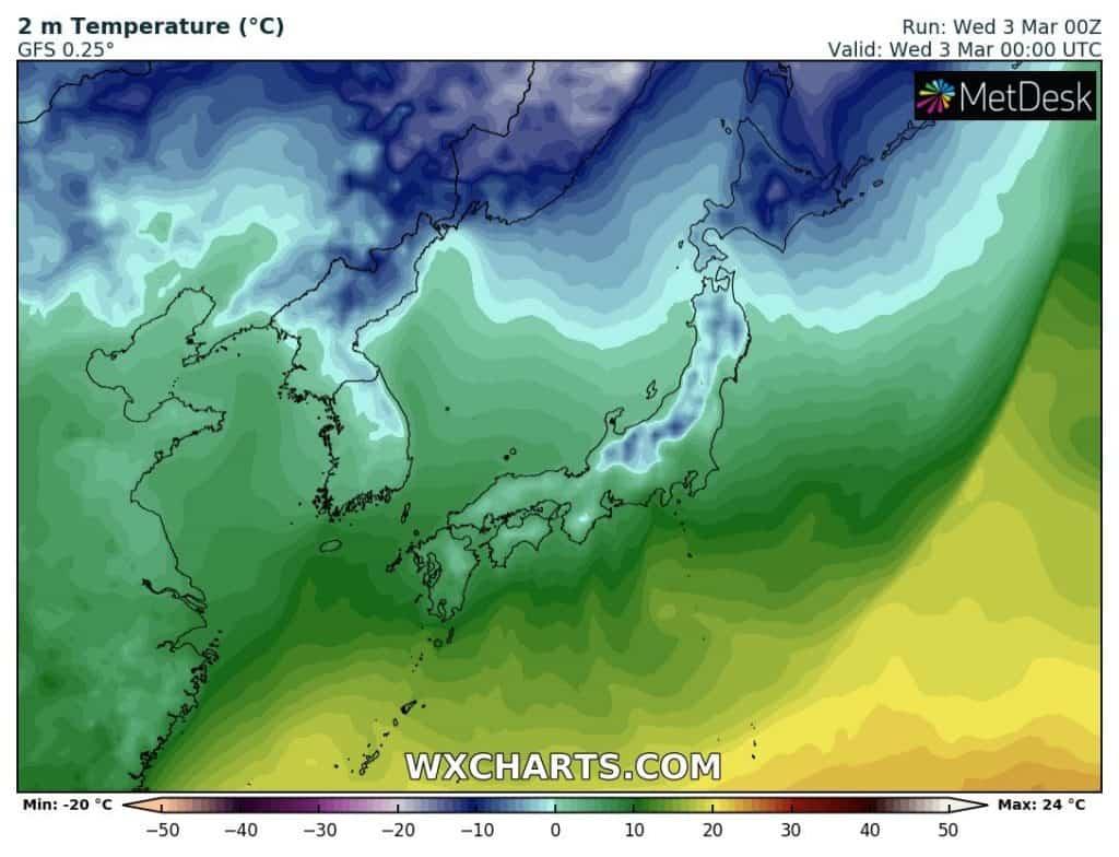 Temperatura w Japonii. Olbrzymi kontrast termiczny