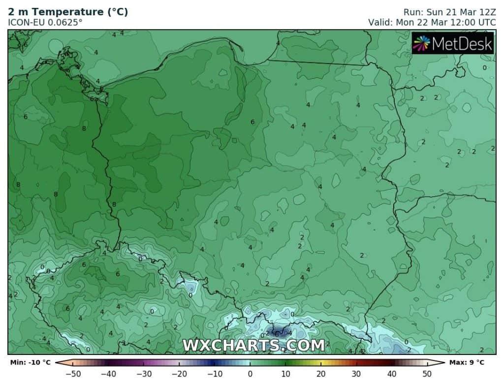 Temperatura w Polsce 22 marca