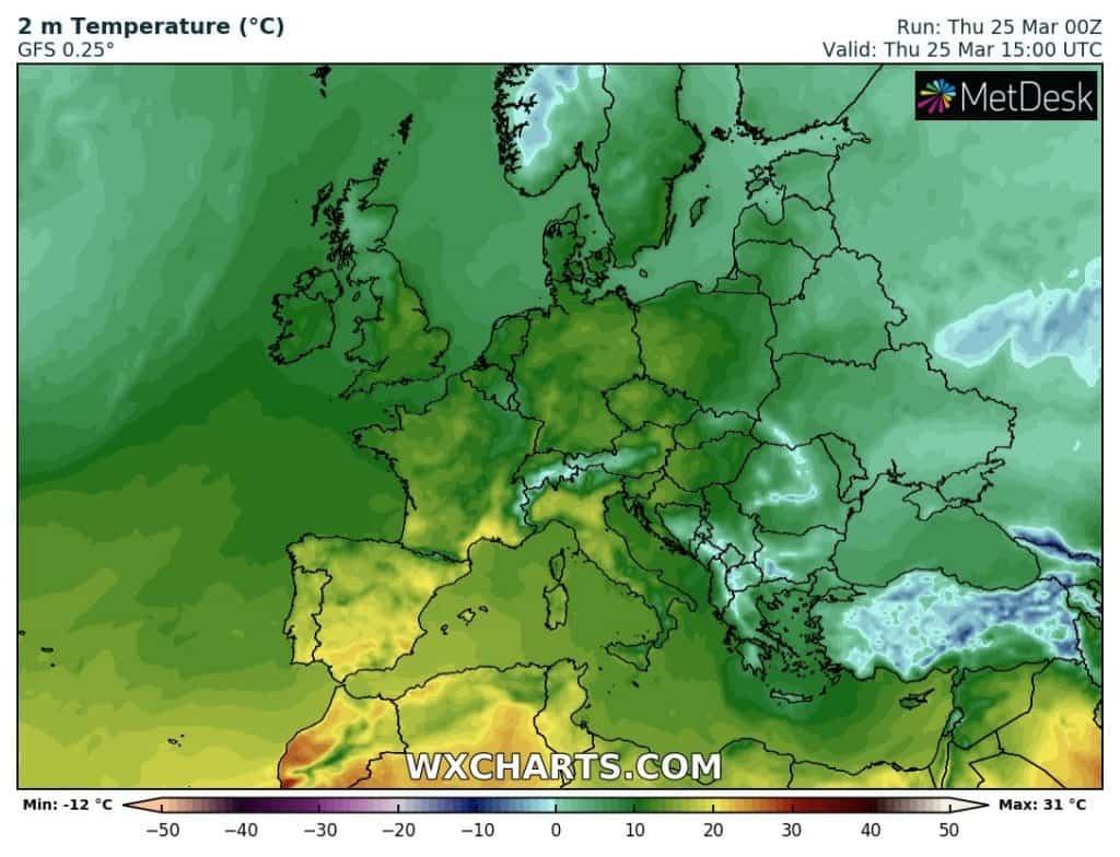 Temperatury w Europie 25 marca