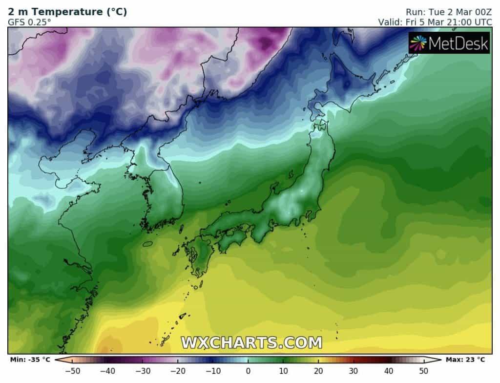 Temperatury w Japonii. Kraj podzielony na zimową północ i prawie letnie wyspy południowe