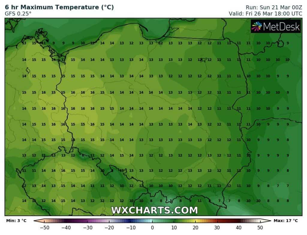 Coraz wyższe temperatury w Polsce