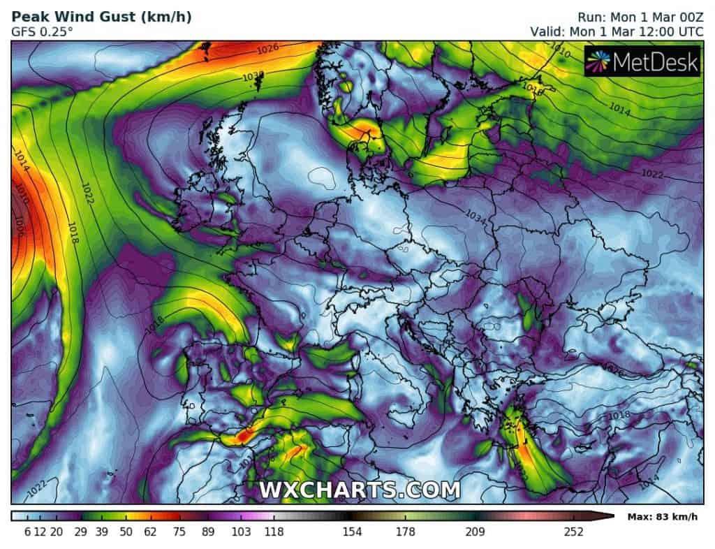 Prognoza wiatru nad Europą na dzień 1 marca 2021