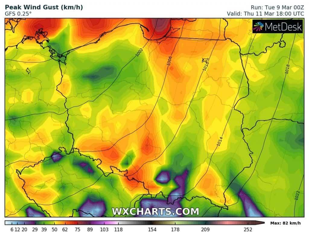 Silny wiatr nad Polską 11 marca