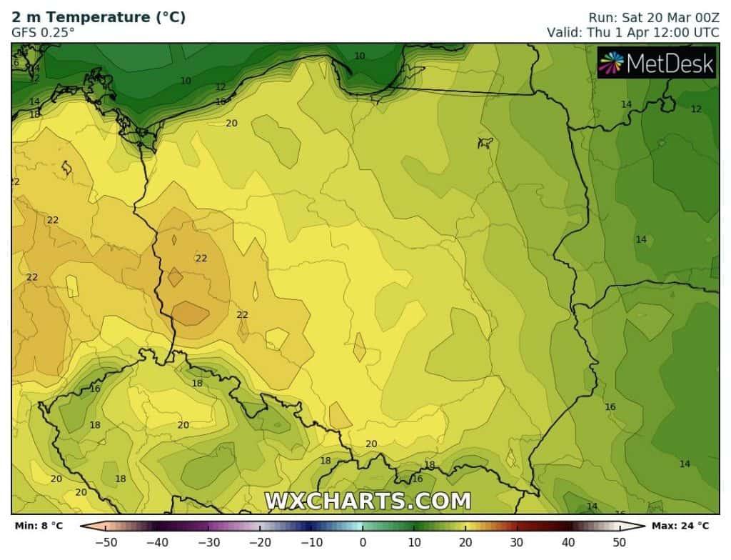 Wysokie temperatury w Polsce 1 kwietnia