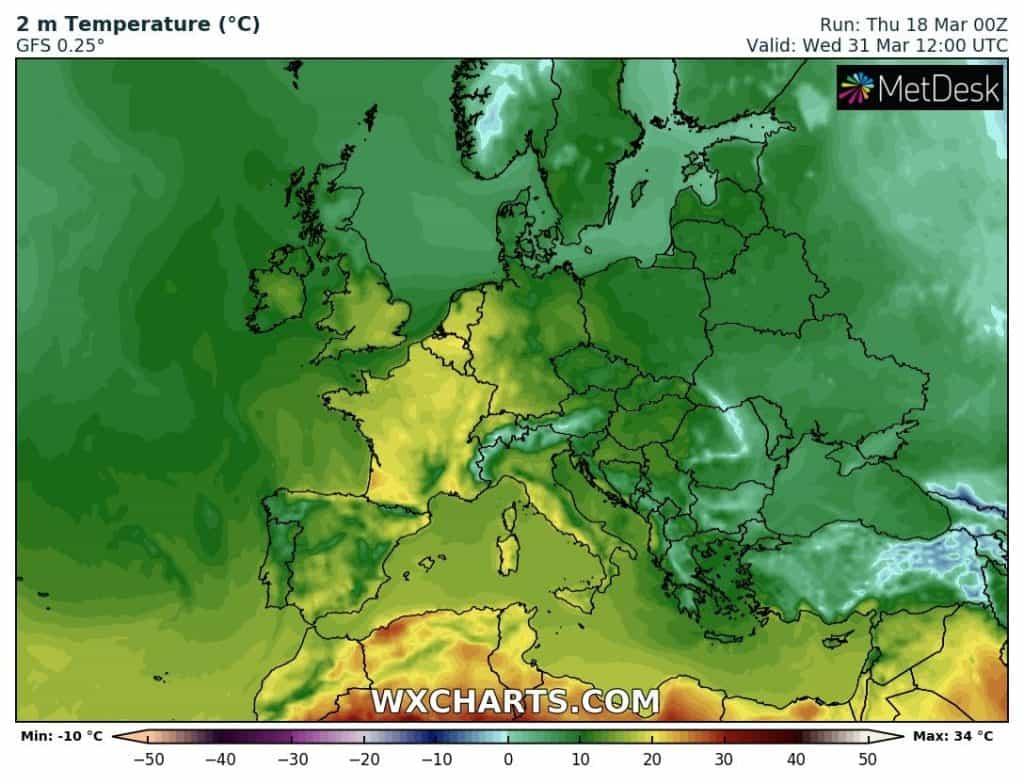 Wysokie temperatury w Europie