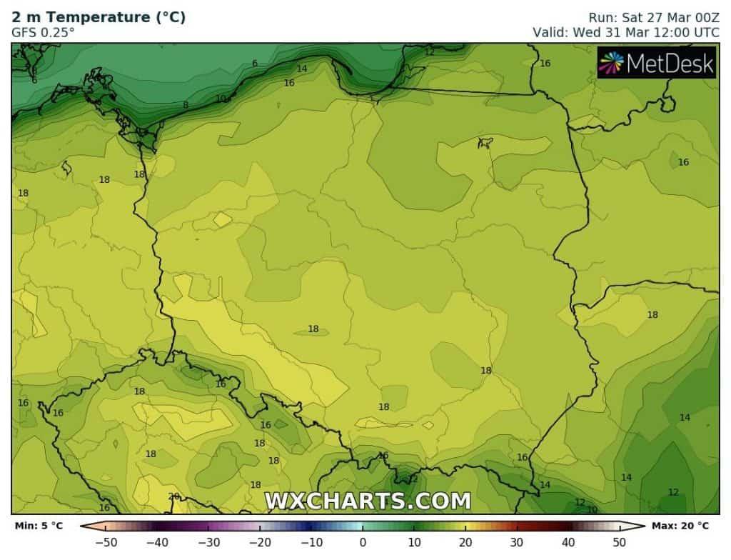 Wysokie temperatury na koniec marca 2021