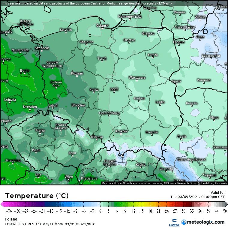 Wtorek temperatura w Polsce