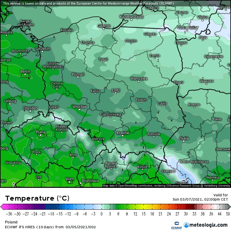 Niedziela temperatura. Pogoda w Polsce
